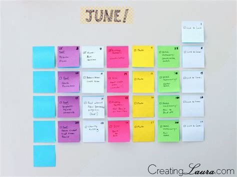 Calendar With Organization Best 25 Sticky Note Crafts Ideas On Index