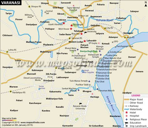 travel directions and map varanasi city map