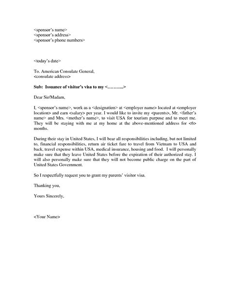 Embassy Letter For Visa invitation letter to consulate for visitor visa cover