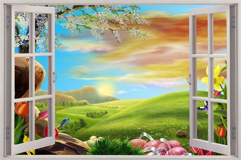 3d wall mural 3d window view enchanted meadow wall sticker mural decal wallpaper ebay