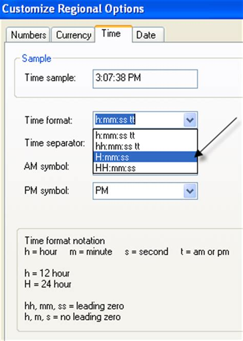 format date with time change clock to and from military time in windows