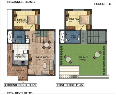 double bedroom independent house plans floor plan periwinkle bungalows at murbad indian eco