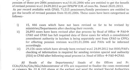 payment of arrears of pensions to pre 2006 pensioners we revision of pensions of pre 2006 pensioners payment of