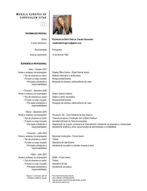 Modelo Curriculum Vitae Europeu Em Portugues Meu Curriculum Vitae