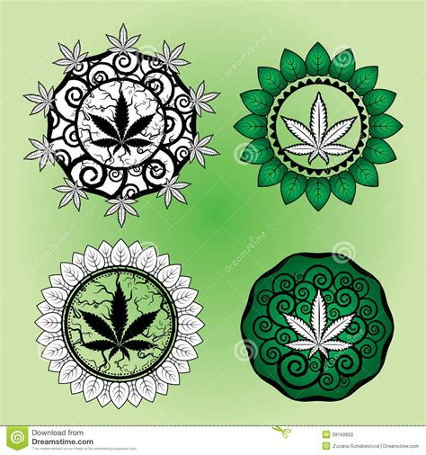 marijuana leaf design stamp design stock illustration