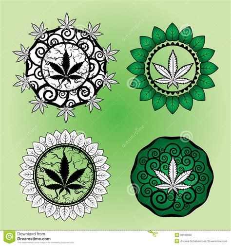 marijuana leaf design stamp design stock illustration