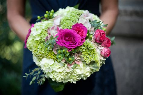 green and pink wedding bouquets pink roses and light green hydrangea bridal bouquet