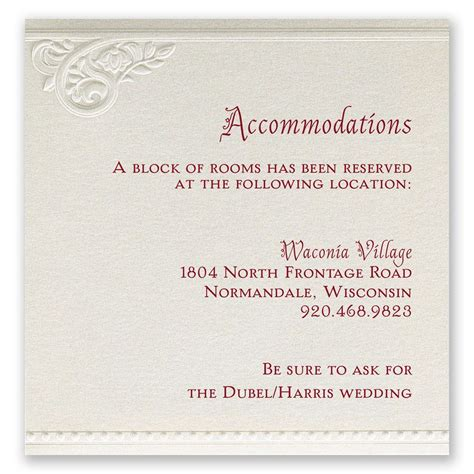 wedding invitations hotel accommodation cards template pearls and lace accommodations card invitations by