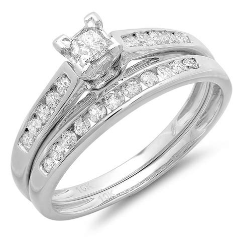 cheap bridal ring set 1 carat on