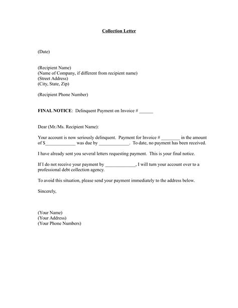 debt collection letter templates free debt collector letter template images gt gt collection