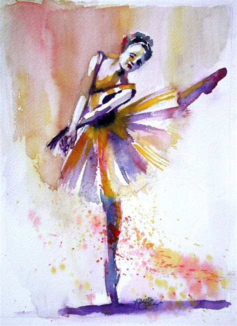 original watercolor painting colorful ballerina dancer wall