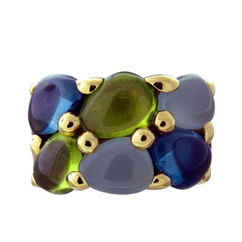 pomellato vintage pomellato sassi gold topaz peridot topaz aquamarine ring