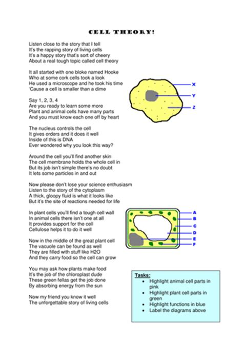 biology poems cell structure rap poem memory aid by jayneleigh78
