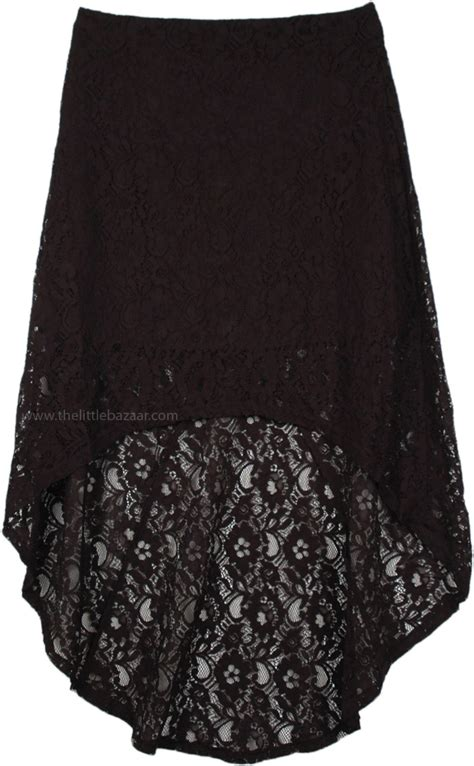hi low black lace skirt clothing high low