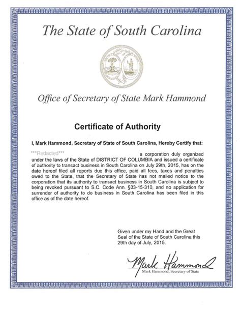 certificate of authorization template state of south carolina of state application by