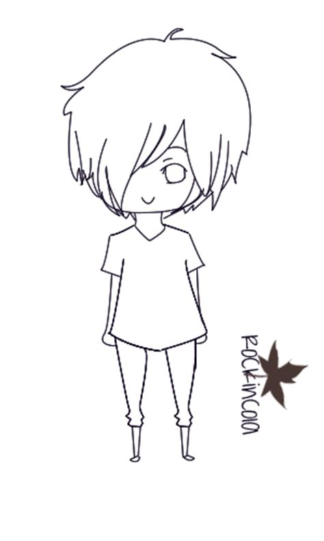 chibi boy coloring pages chibi boy without color by rockincola on deviantart