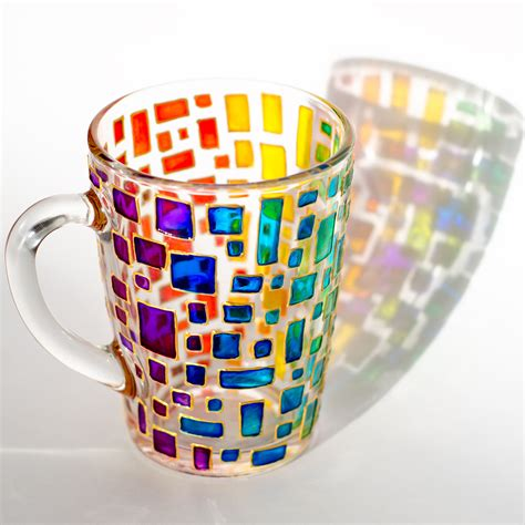 Custom Rainbow Car Mug rainbow mug multi colored mug stained glass cup colorful mug