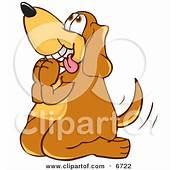 Brown Dog Mascot Cartoon Character Begging For A Walk Or
