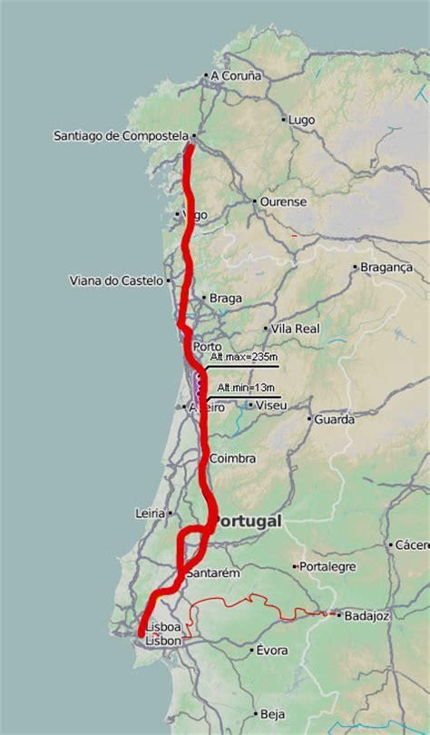 porto lisbona distanza cartina cammino portoghese my
