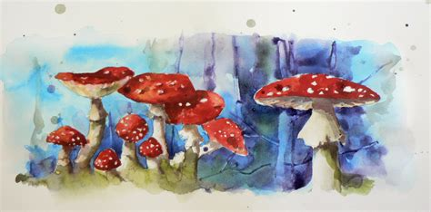 Mainan Magical Water Colours watercolour demo fly agaric mushrooms 2nd part alison fennell