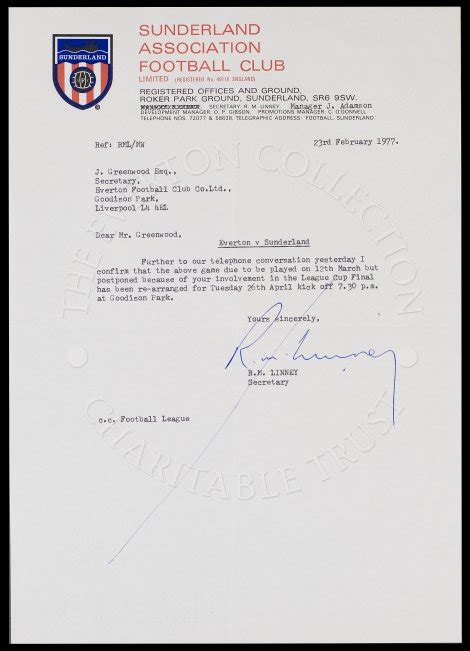 Official Letter Reference Number Letter With Other Club The Everton Collection