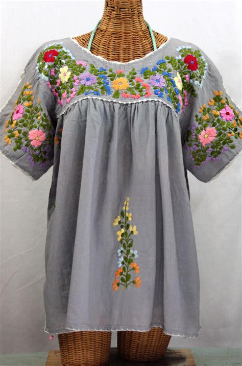 Blouse By Liblre quot lijera libre quot plus size mexican blouse grey ivory trim