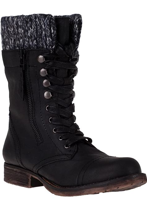 black lace up boots steve madden jaax lace up boot black leather in black lyst
