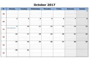 Calendar Template October 2017 October 2017 Calendar Template Calendar Template Letter