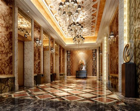 Home Scene Interiors by Luxury Hotel Lobby With Elevator 3d Model Cgtrader