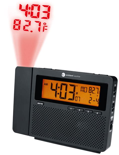 ambient weather rc 6050 clearview am fm radio controlled projection alarm clock