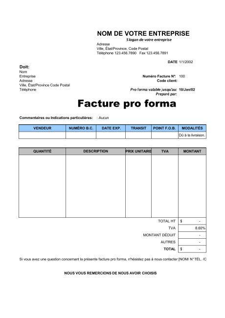 Pro Forma Documents Facture Pro Forma Template Sle Form Biztree