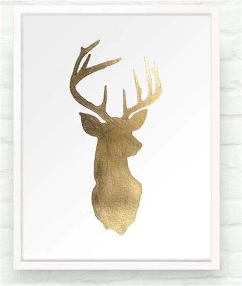 metallic gold stag head and deer on pinterest