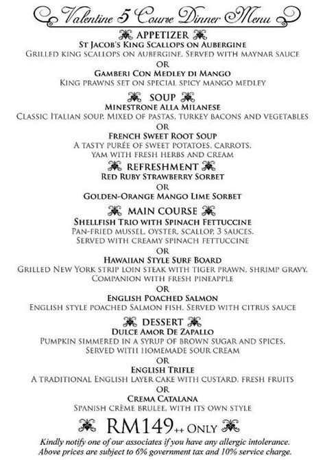 5 course dinner menu the limestone s an unforgettably delicious experience