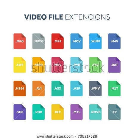 video file format in multimedia file type icon file extensions vector stock vector