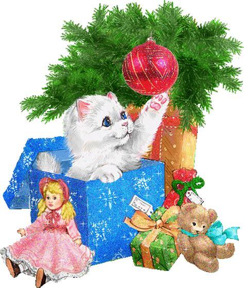 gify świąteczne z kotkami i pieskami magia świąt bożego