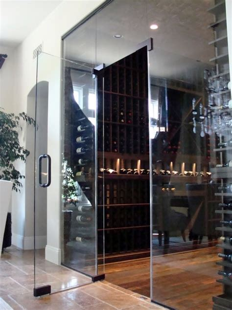 custom wine cellar door orange county in glass