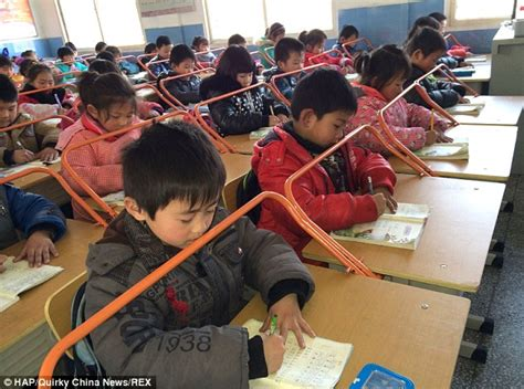 Chinese School Children S Eyesight Protected By Bars That Students In Desks