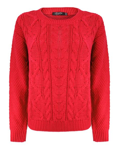 knitting pattern womens jumper ladies women knitted crew neck long sleeve cable knit