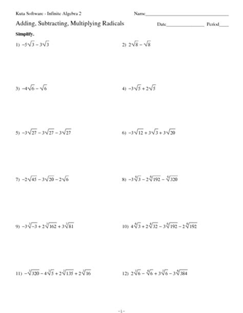 Radical Worksheets by Simplifying Radicals Practice Worksheet With Answers