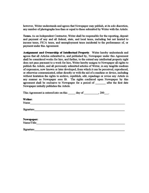sample freelance writer agreement