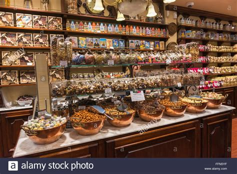 belgian chocolates on display in a chocolate shop in