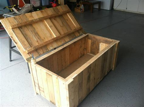 storage deck box from pallet wood my completed diy projects pinterest deck box pallet