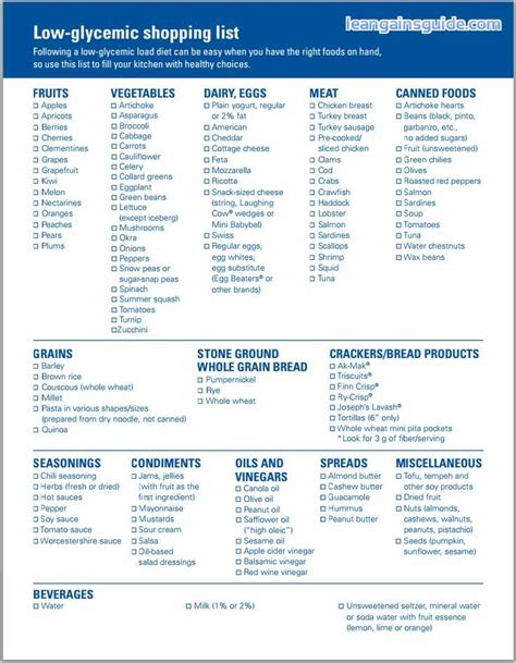 printable version of the glycemic index printable list of healthy foods printable glycemic index