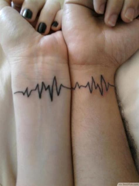 Couple Tattoo Heartbeat | 31 best matching tattoos for couples cool love design