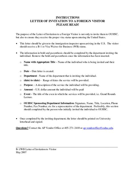 Invitation Letter Sle Usa Invitation Letter For Visitor Visa Usa Invitation Librarry