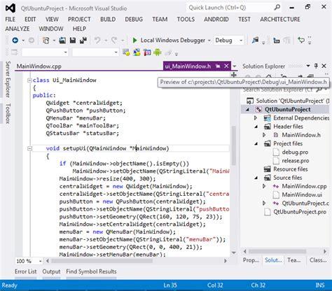 visual studio qt tutorial creating qt5 projects on ubuntu with visual studio