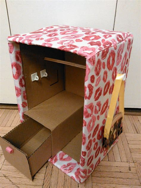 How To Make American Doll Stuff Out Of Paper - closet made out of cardboard box furniture for 18 inch