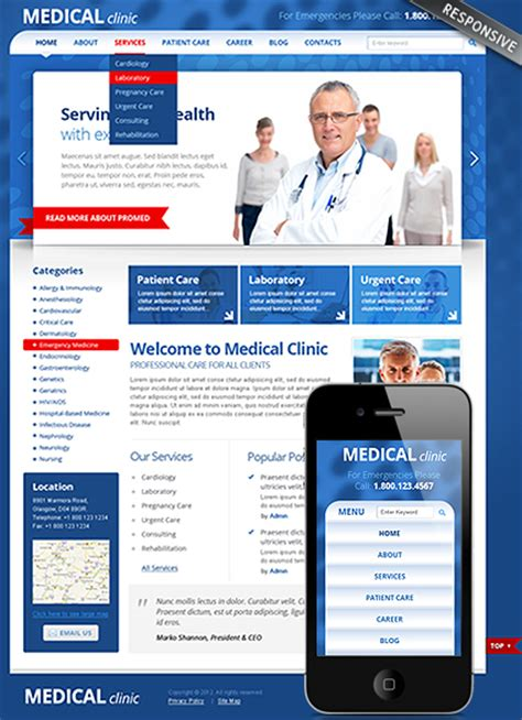 templates for medical website medical clinic wordpress theme best website templates