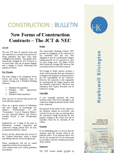 jct design and build contract clauses jct vs nec3 general contractor