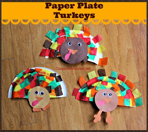 Paper Thanksgiving Crafts - thanksgiving craft paper plate turkeys using tissue paper